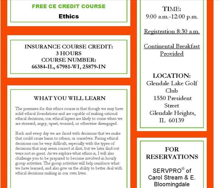 Community SERVPRO of Carol Stream & East Bloomingdale is Offering a CE Course on Ethics